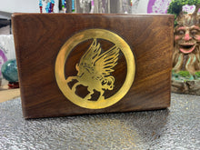 Load image into Gallery viewer, Pegasus brass inlaid wooden jewellery box