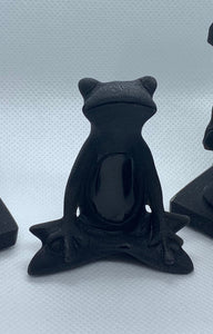 Obsidian Meditating Frog Carving