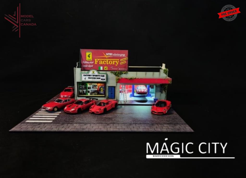 Magic City - Ferrari Garage Diorama (110008)(Comes With Accessories) 1:64 Scale