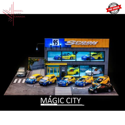 Magic City - Spoon Sports Exhibition Garage Diorama With Accessories (110010) 1:64 Scale