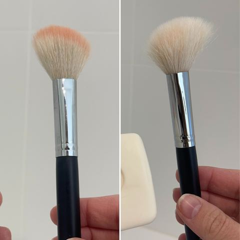 Before and after of brush cleaning with Sard Wonder Soap