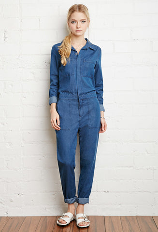 Forever 21 Denim Utility Jumpsuit