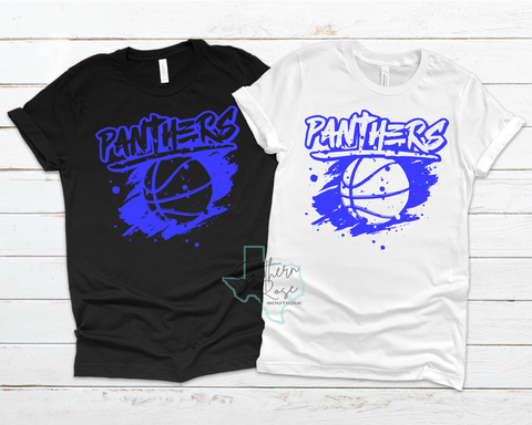 Grunge Style Panther Basketball