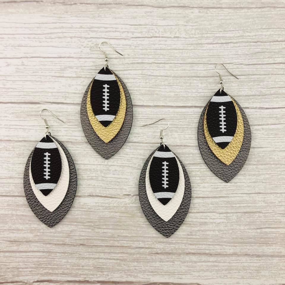 Layered Football Earrings