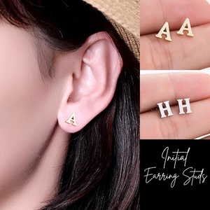 Initial Earring Studs - Gold & Silver