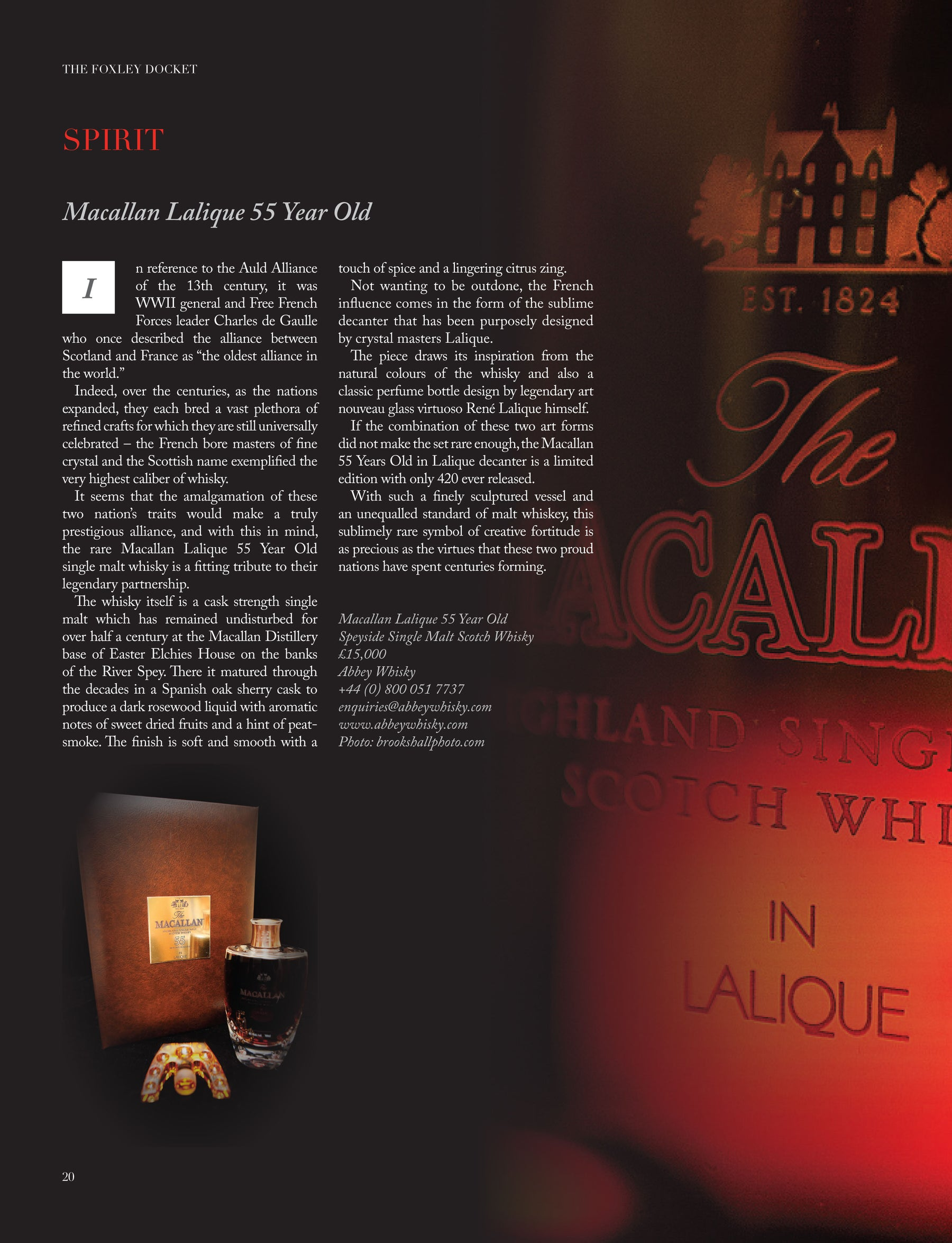 Macallan 55 Year Old Lalique - The Foxley Docket