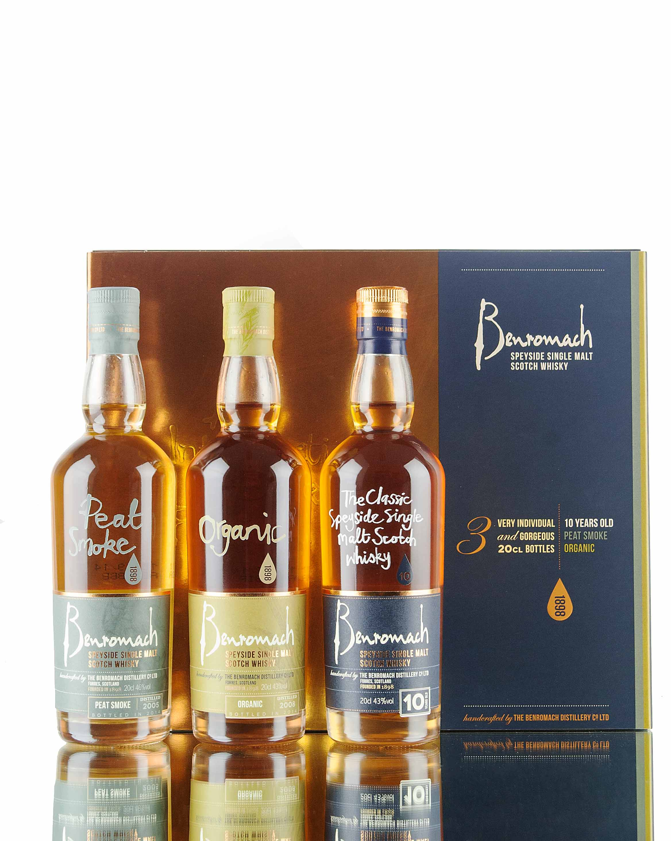 Benromach Gift Pack - Peat Smoke + Organic + 10 Year Old