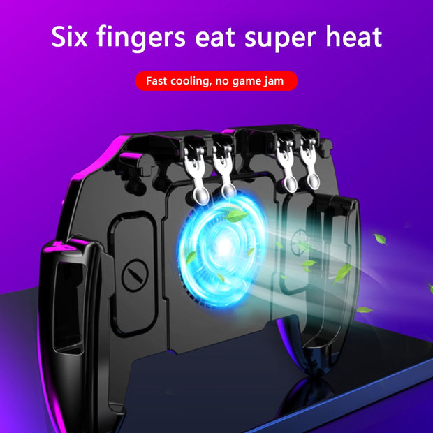 6 Fingers Mobile Shooting Gamepad with Cooling Fan