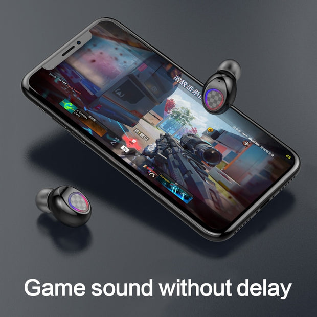 V7 TWS 5.0 Fingerprint Touch Bluetooth Earphones