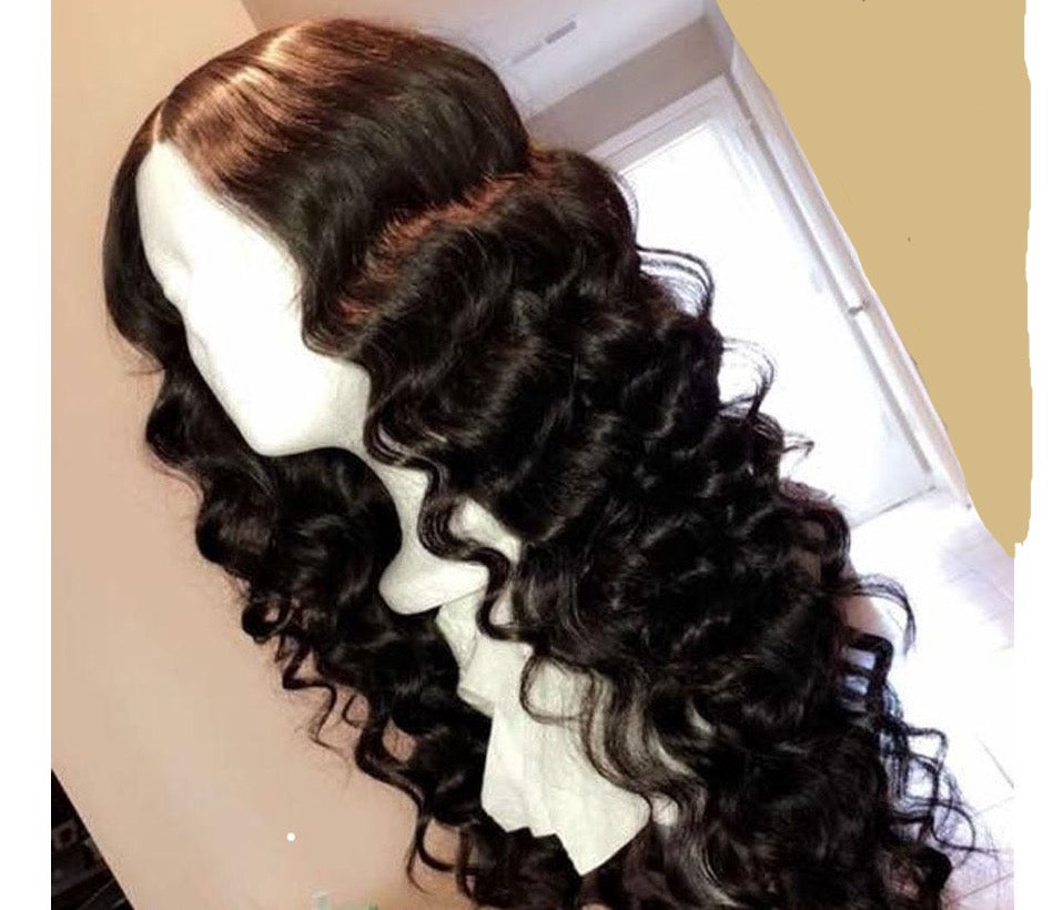 Raw Indian Hair 13x6 Lace Closure Wavy Wigs With Baby Hair 250% Density