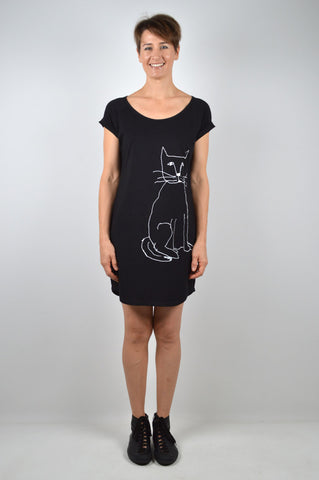 Cat on Black T-shirt Dress