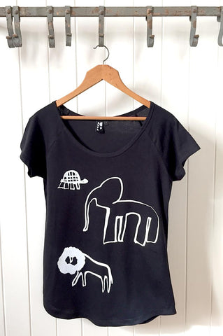 The Lion, The Elephant & the The Tortoise on a Black T