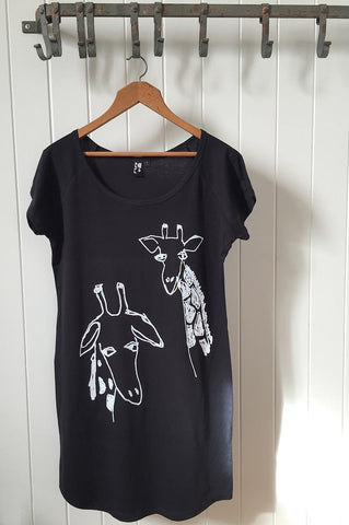 Giraffe Twins on Black T-Shirt Dress