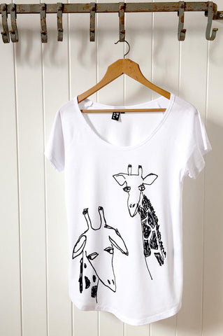 Giraffe Twins on White T-Shirt