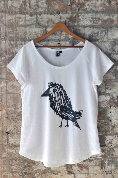 White T-shirt with Crow