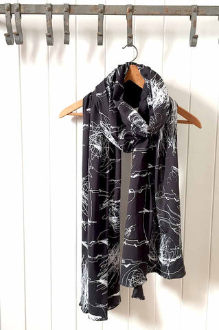 Burnout Print Vintage Black Scarf