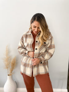 One More Time Plaid Shaket - Brown