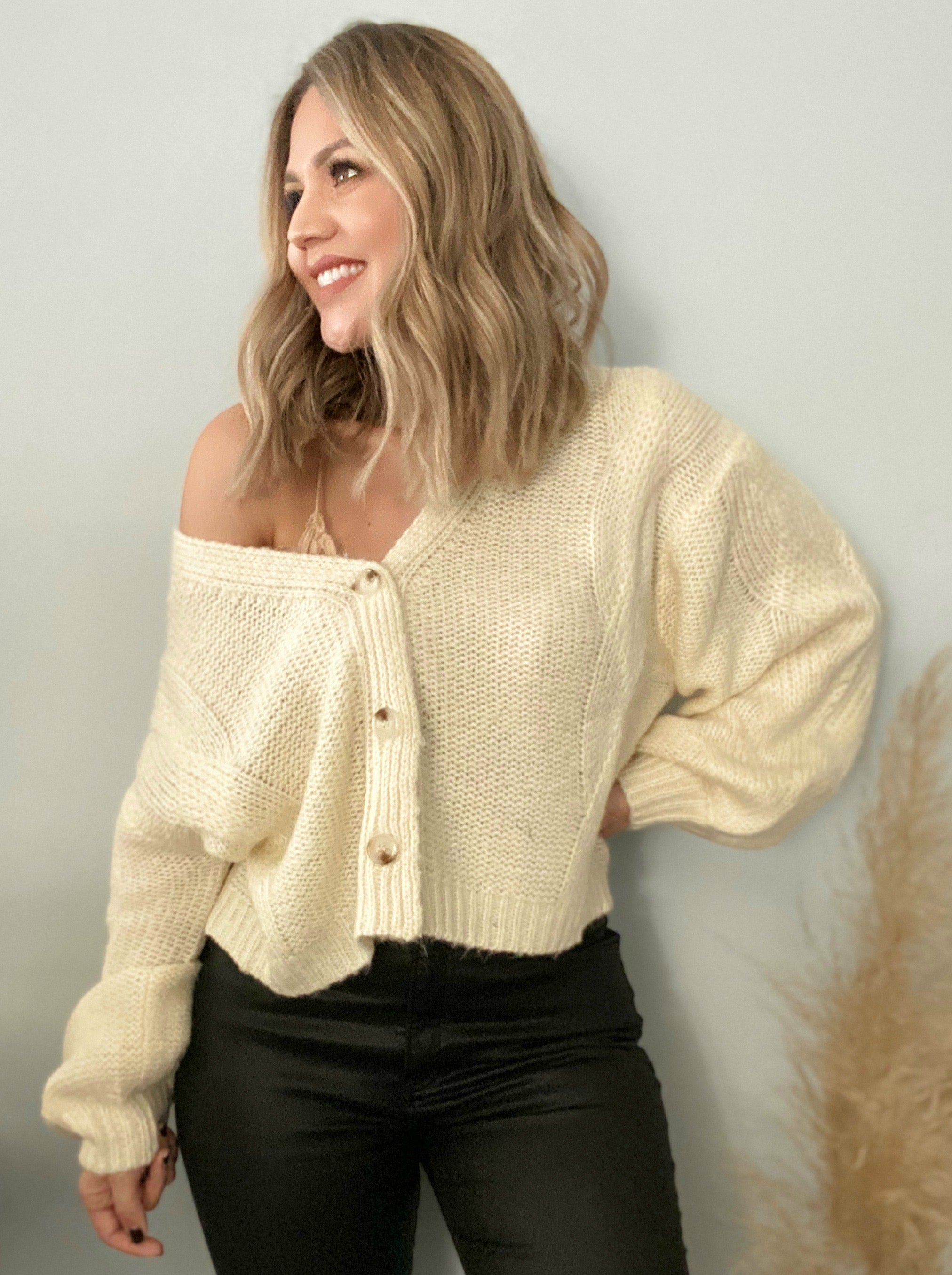 Be Playful Balloon Sleeve Cardigan - Off White