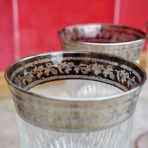 SET OF SIX VINTAGE SHERRY/APERITIF  GLASSES WITH SILVER BAND LEAF DETAIL