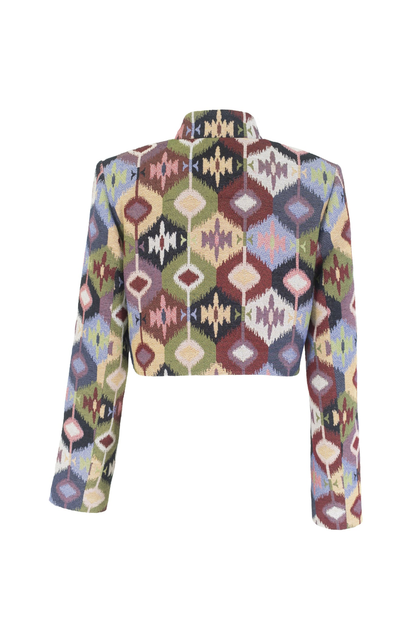 Multicolor Cropped Jacket with Pockets