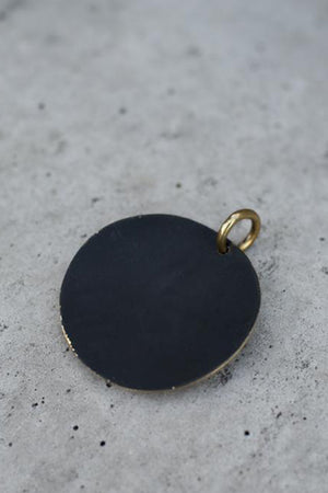 Big Circle Pendant with Chain - Brass