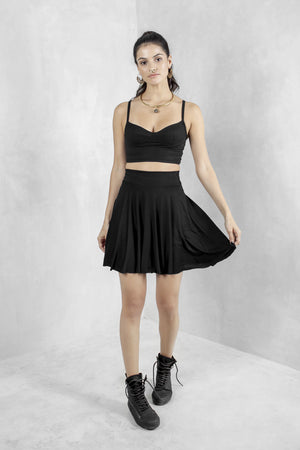 Black Bamboo Jersey Mini Skirt