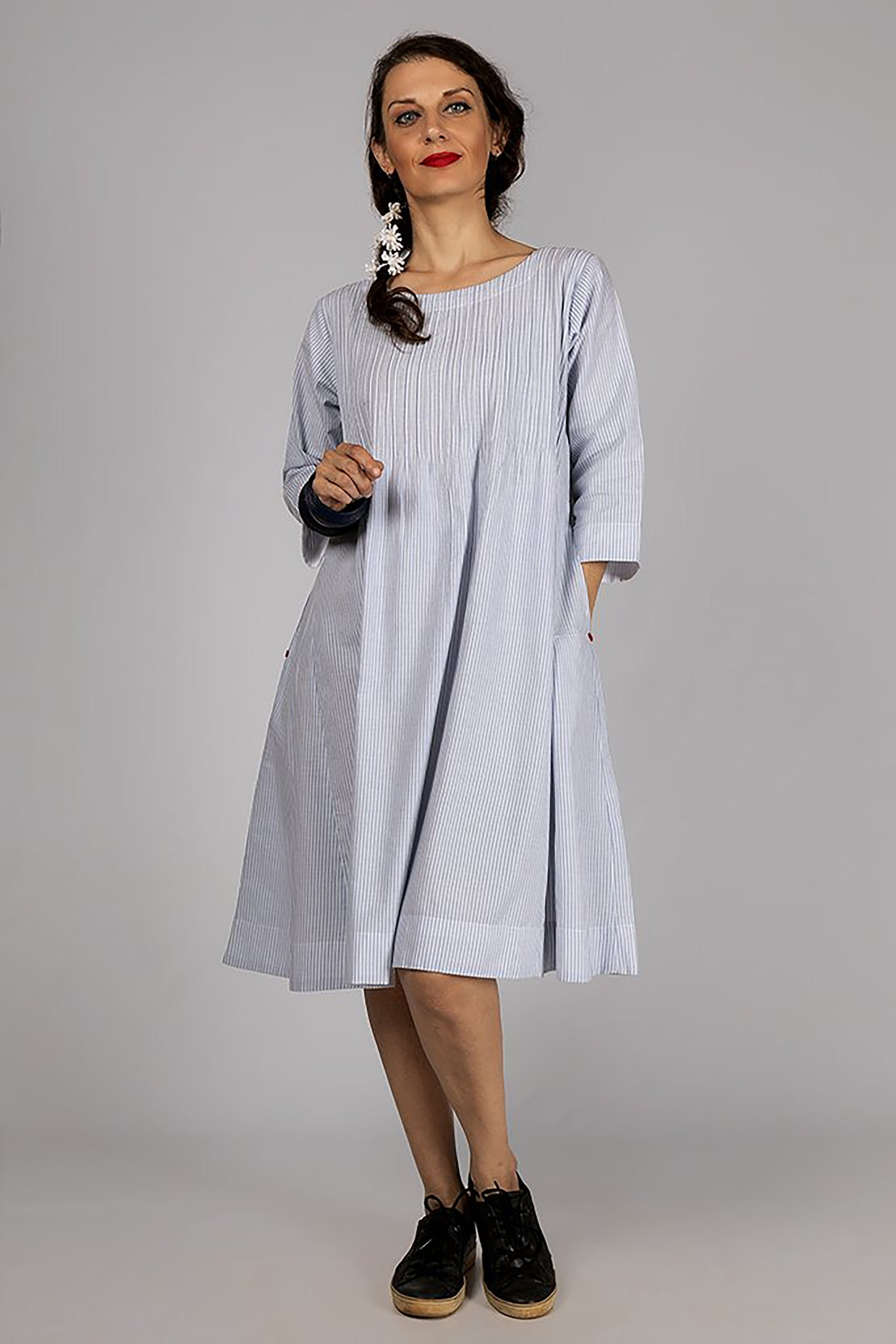 Blue Organic Cotton Striped Dress - SERENE