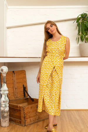 Wrap Dress Silk Cotton Moroccan Print Yellow