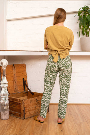 Tailored Pants Moroccan Print Olive