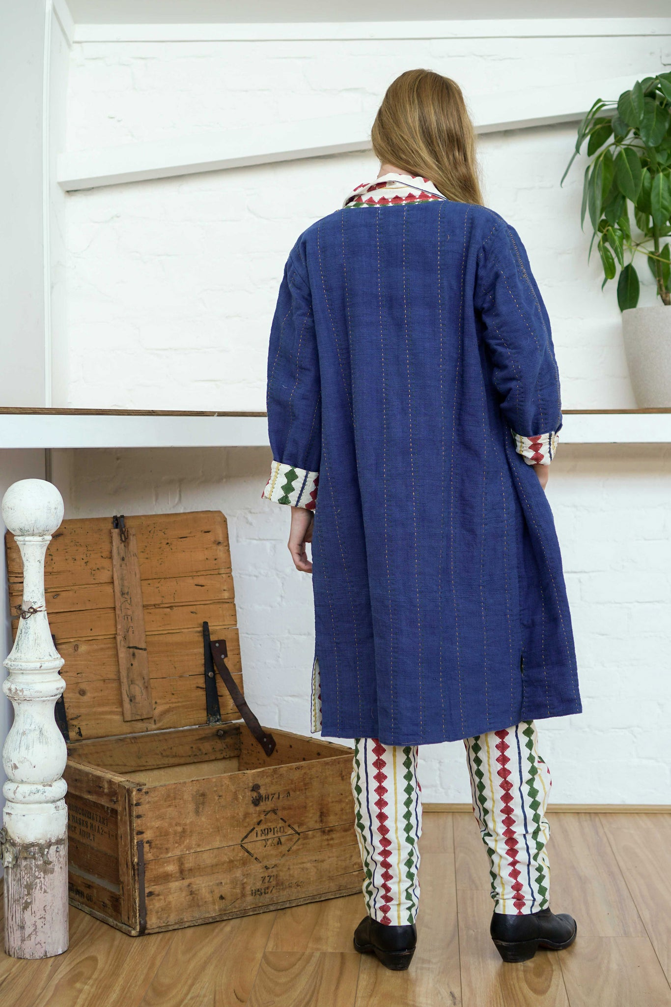Reversible Coat - Indigo/Diamond Print