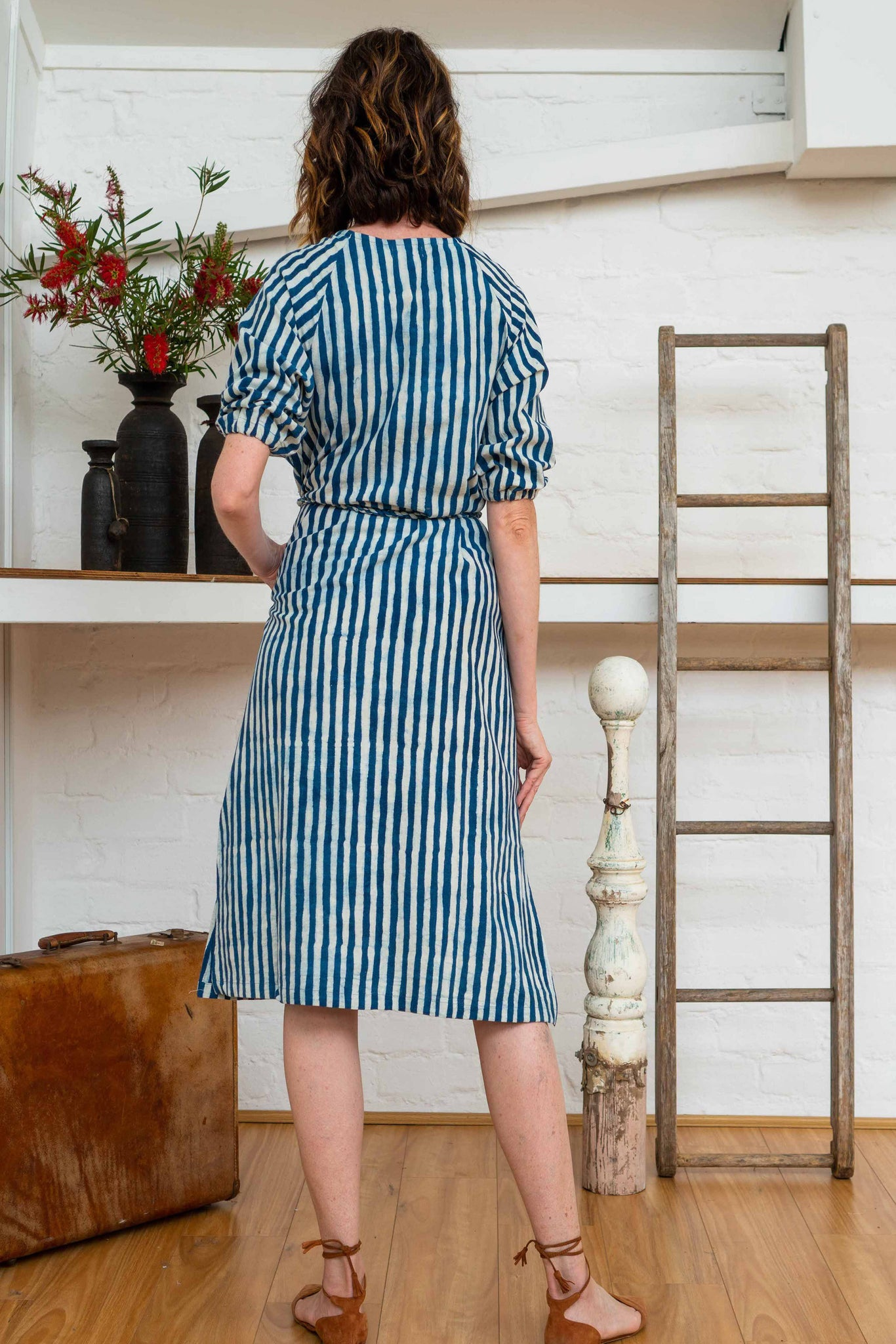 Long Button Tie Dress - Indigo Stripes
