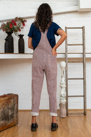 Work Overalls - Red Pinstripe