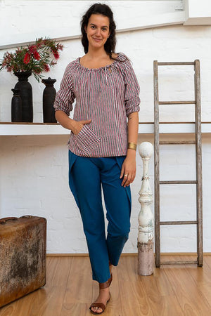 Peasant Top - Red Pinstripe