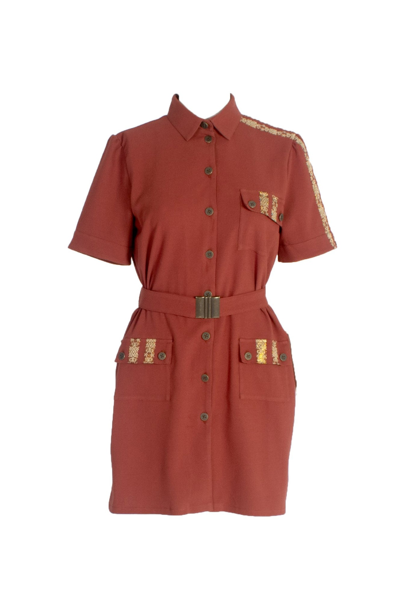 Short Sleeve Wool Button Up Shirt Dress with Chest Pockets Burgundy