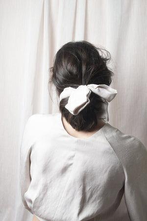 Floral Hair Tie - Structured Viscose Nude