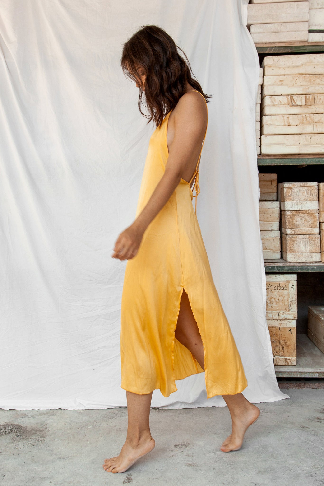 Lily - Yellow Silk Dress