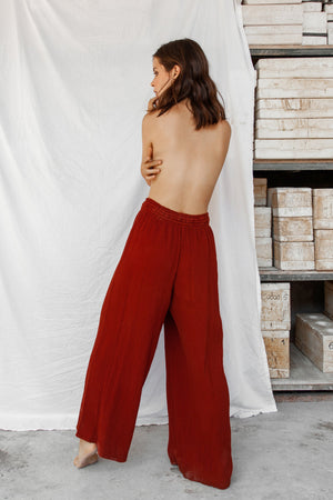 Akasha 100% Natural Dye Cotton Pants - Red
