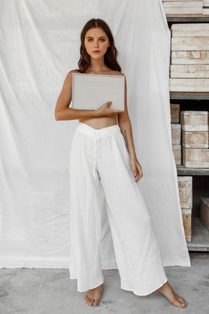 Akasha Cotton Pants - White