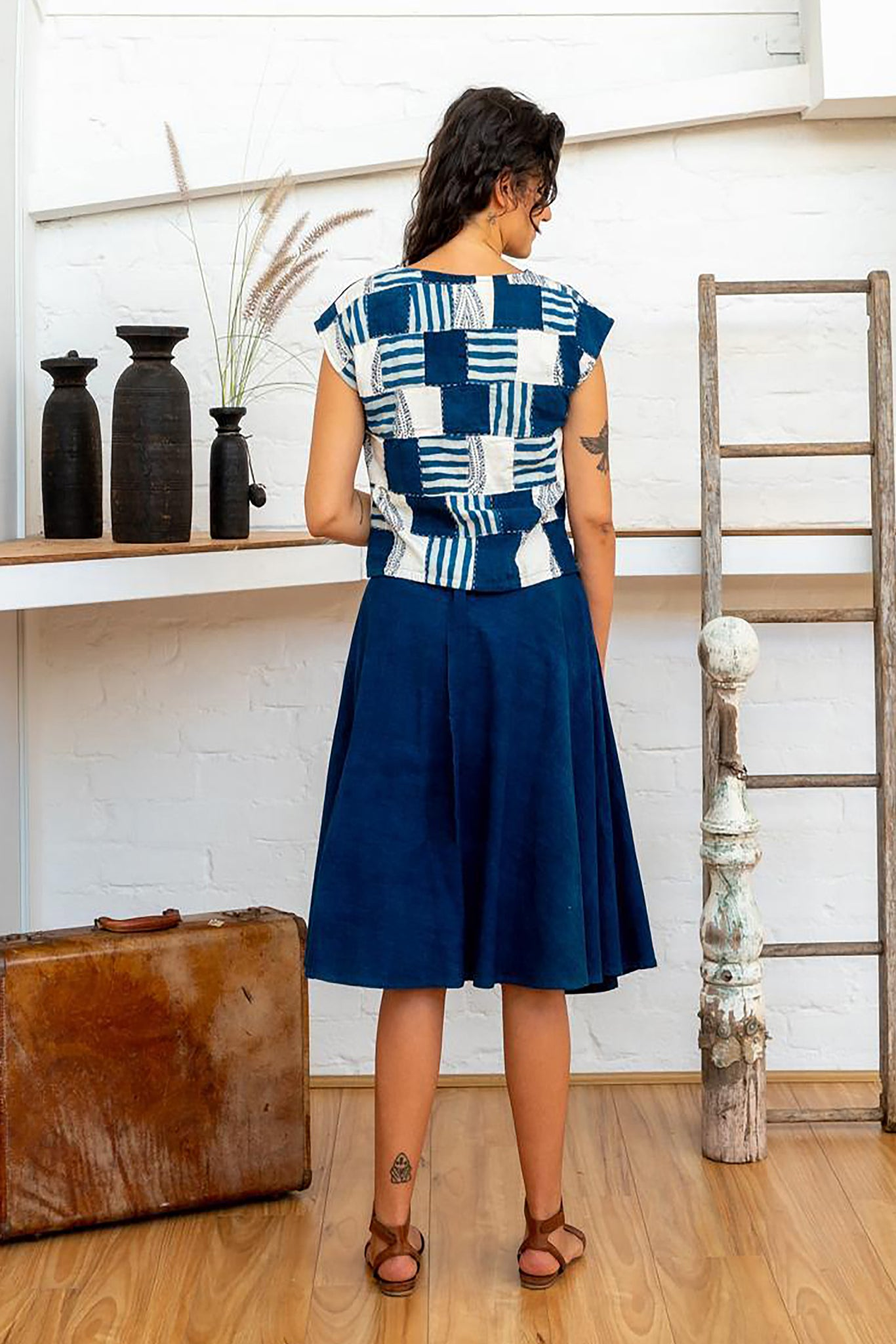 Shell Top - Indigo Print Patchwork
