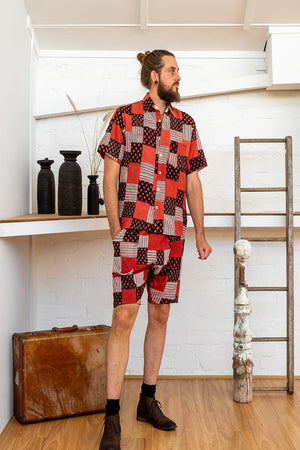 Men Shorts - Red Print Patchwork