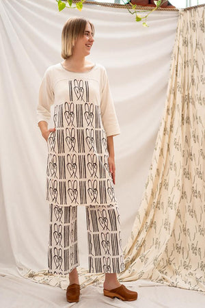 Wide Leg Pants - Cane Bench Print