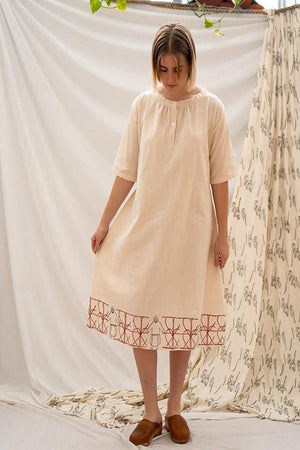 Long Vintage Dress - Lady In The Fence Print