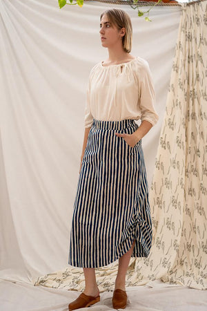 Pull Long Skirt - Indigo Stripe