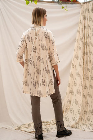 Oversized Shirt - People Gathering Print