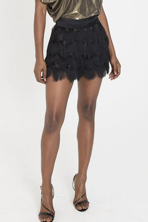 SHAE Black Fringe Shorts