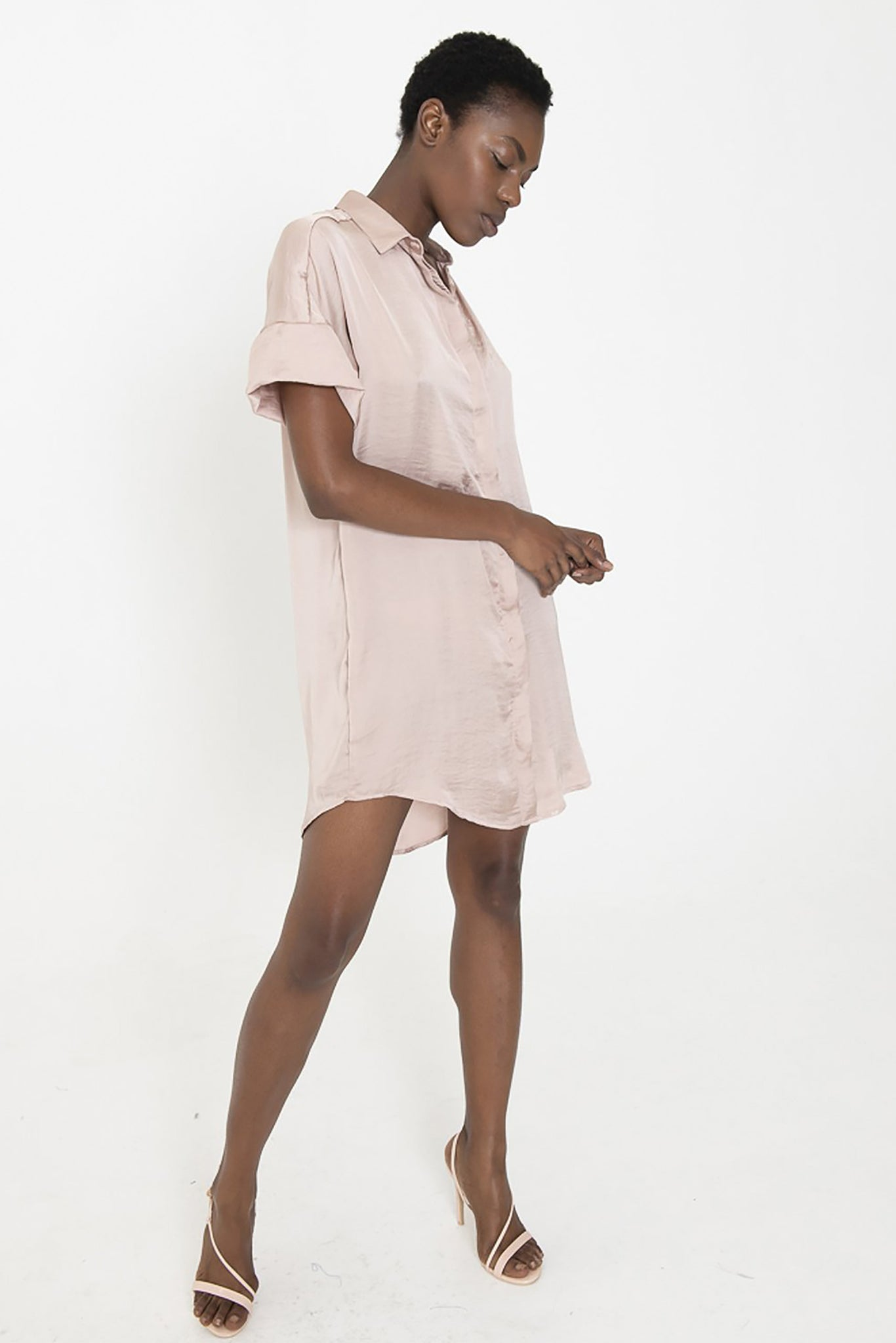 "LUCA ""silky"" blush button down shirt dress"