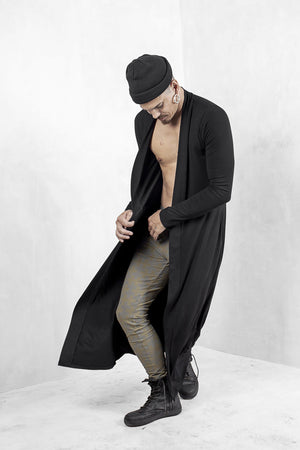 Mens Black Long Cardigan Modal Lycra