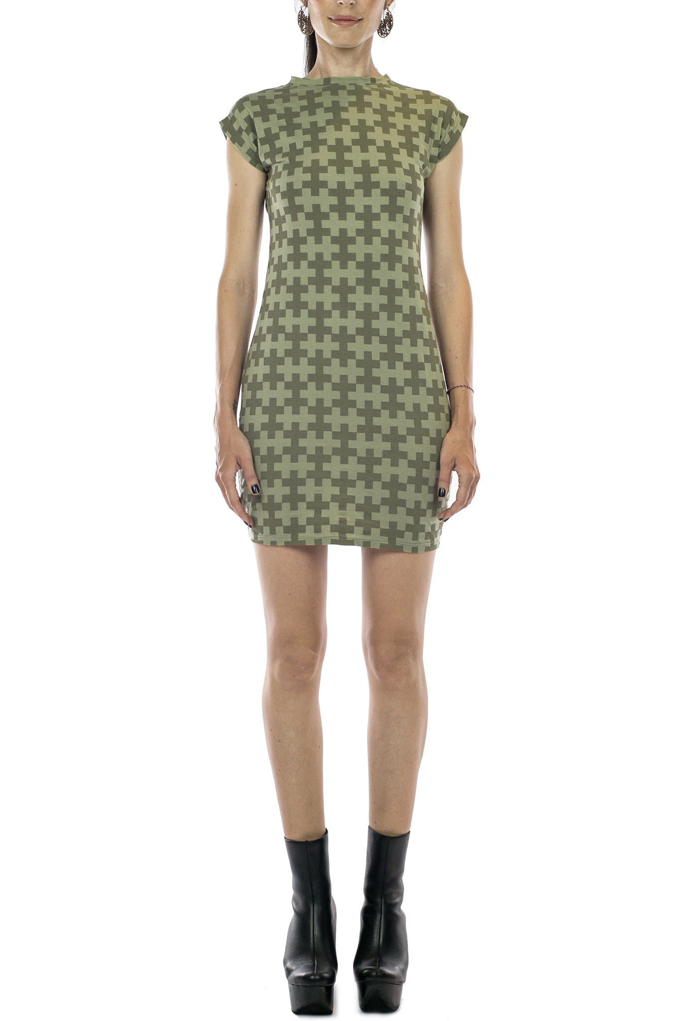 Printed Muscle Tee Dress Organic Cotton