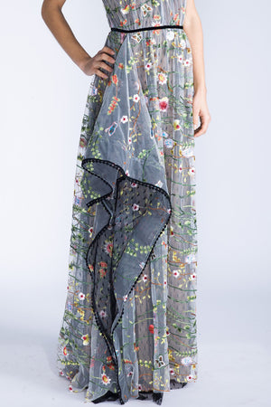 MARCELLA Floral and Dot Embroidered Lace Halter Dress