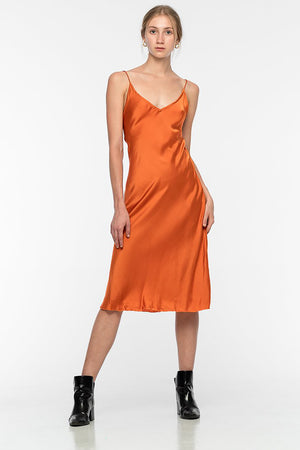 Lily Silk Dress - Burnt Orange